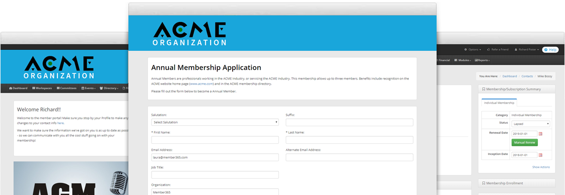 Membership management software screenshots of Member365